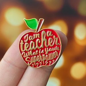 Teacher Red Apple Enamel Pin/ Brooch